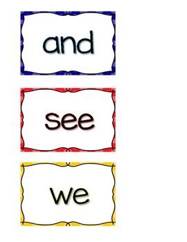 Kindergarten Journeys Vocab Context Cards High Frequency Words