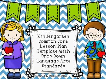 Kinder Language Arts Lesson Plan Template Drop Down CCSS