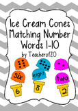 Matching Number Words: Ice Cream Cones Game 1-10