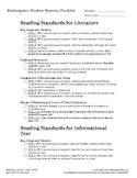 Kinder ELA CCSS + CA Student Mastery Checklist