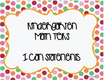 Kinder Math TEKS I can Statements