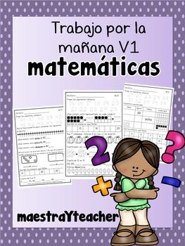 Kinder Math Warm up Spanish/ Practica de Matematicas V1
