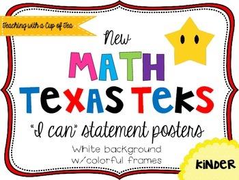 Kinder *New* Math TEKS Posters {white background w/colorfu