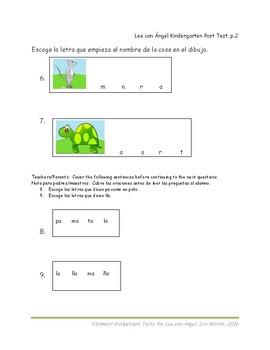 Kinder Post-test for Spanish Reading skills