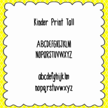 Kinder Print Tall Font {personal and commercial use; no li