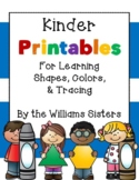 Kinder Printables for Learning Shapes, Colors, & Tracing