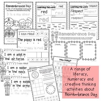 Remembrance Day Activities Australia - Foundation, Kindergarten, Prep
