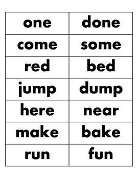 Kinder Rhyming Dolch Based Word Set