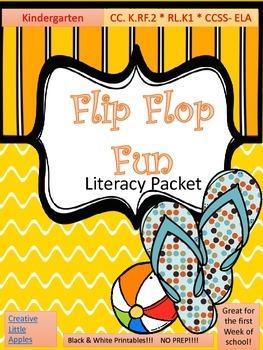 FLIP! FLOP! FUN! SUMMER/Early BACK-TO-SCHOOL.(B/W)Literacy Packet. PRINT&GO!