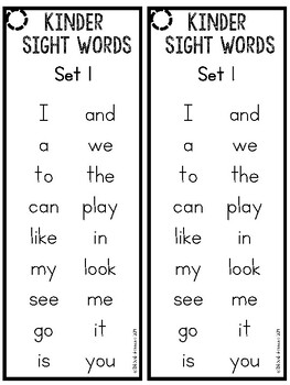 Kinder Sight Word Cards {Includes Assessment tools}
