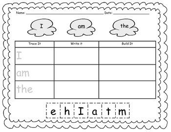 Kinder Sight Word Work Bundle - Trace, Write, Build