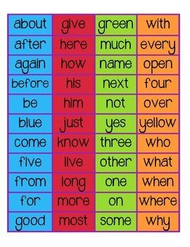 Kinder Sight Words List Chart