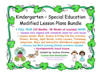 Kinder Special Ed FULL YEAR Lesson Plans and Curriculum by GBK