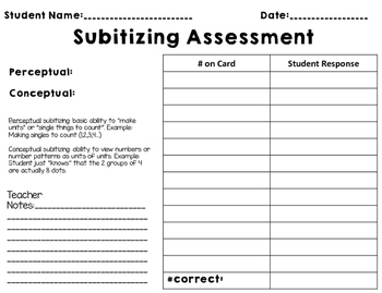 Kinder Subitizing Assessment