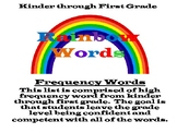 Kinder Through First Grade Frequency Word List