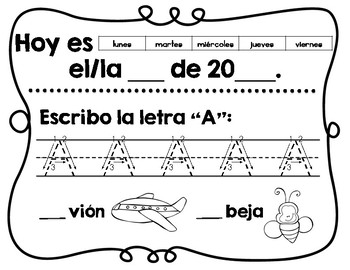 Kínder- Trabajo de la mañana- Sept./Kindergarten Spanish Morning Work Sept.