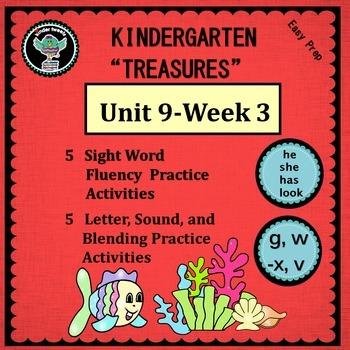 Kinder Treasures Unit 9  Week 3  Sight Words she he has look  Phonics g w x v