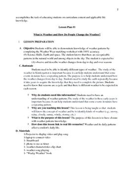 Kinder Unit Plans- Weather