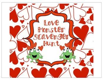 Kinder Valentine Sight word scavenger hunt
