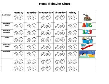 Kinder Visual Schedule Behavior Chart Tracker for home/school