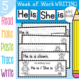 Writing Book - He is / She is - 5 Day of Writing Activities - Halloween