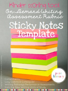 Kinder Writing Rubric Sticky Notes Template {editable plai