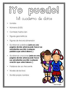 Kinder: Yo puedo! Mi Cuaderno de datos/Data Notebook
