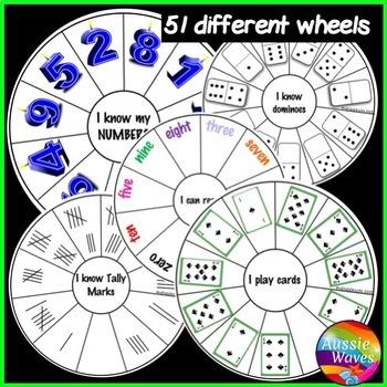 Kinder/Yr 1 Math Center Activity NUMBER WHEEL BUNDLE Tasks Counting Number 0-20
