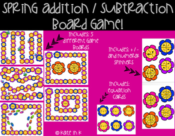 Kindergarten addition and subtraction board game!