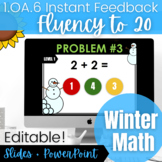 Kinder and 1st Grade Add & Subtract to 20 Fluency | Winter Digital Math Activity