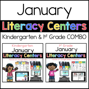 Kinder and 1st Grade COMBO January literacy centers