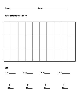 Kinder or early1st grade math assessment