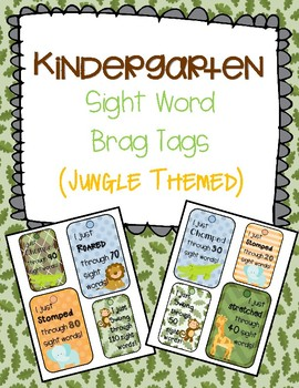 Kinder sight word brag tags (Jungle Themed)
