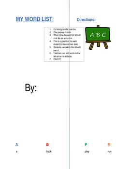 Kinder through Second Word List