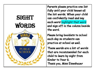 Kinder to Year Six Sight Word Booklet