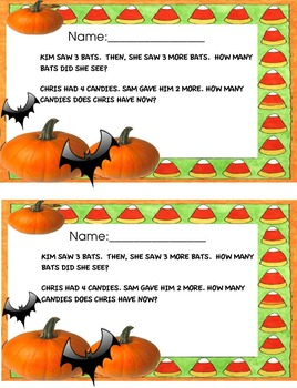 Kinder word problem _Halloween