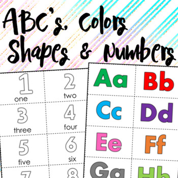 Kinder+PreK Colors, ABC's, Basic Shapes, Numbers Flashcards