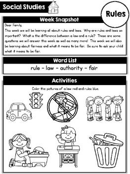 KinderSocialStudies Kindergarten Social Studies Home Connection- Newsletters