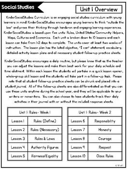 KinderSocialStudies™ Kindergarten Social Studies Unit One: Rules