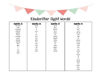 KinderStar Sight Word List
