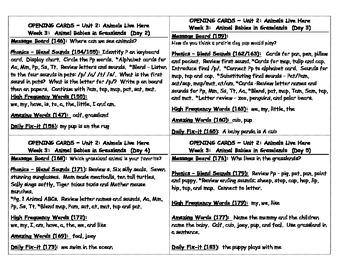 2008 Kindergarden Reading Street Daily Focus Cards