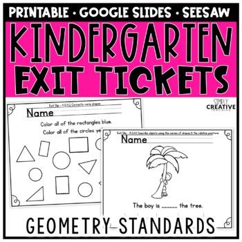 Kindergaren Math Exit Slips for Geometry