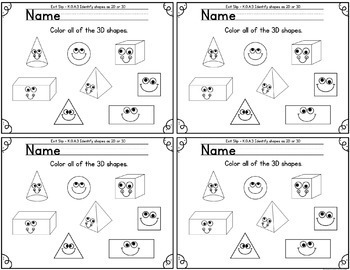 Kindergarten Math Exit Slips for Geometry