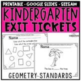 Kindergarten Math Exit Slips for Geometry