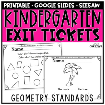 Kindergaren Math Exit Slips for Geometry