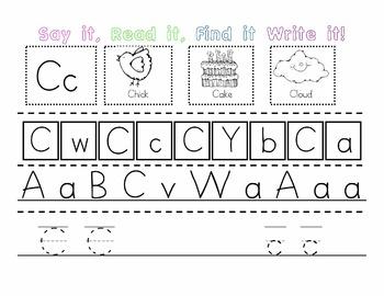 Kindergarten RTI and letter recognition worksheets