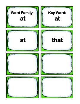 Kindergarten 0.66-0.99 Word Families Cards Aligned to American Reading Co IRLA