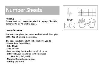 Kindergarten 1-10 number activity sheets - 10 minute activity | TpT