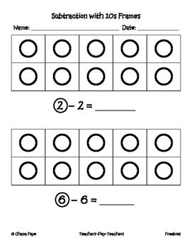 Kindergarten 10 Frame Subtraction