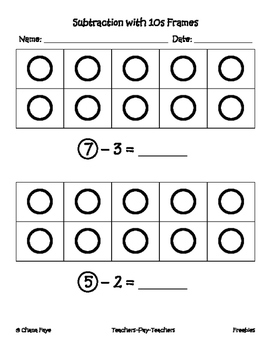Kindergarten 10 Frame Subtraction